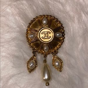 Vintage faux pearl with CHANEL button